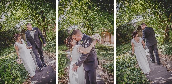 Hochzeitsfotos Kuss Vintage Brautstrauß Reutlingen